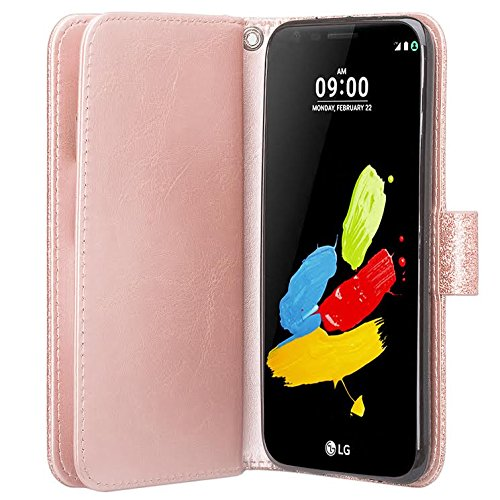 LG Aristo 2 Plus Case, Aristo 2, LG Tribute Dynasty, Rebel 3, Zone 4,  [Wrist Strap] Glitter Faux Leather Flip [Kickstand] Wallet Case Wristlet -  Rose