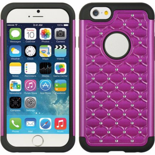 iphone 6s plus case, apple iphone 6 plus diamond rhinestone hybrid case - purple - www.coverlabusa.com