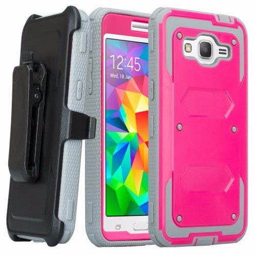 galaxy on5 case heavy duty holster shell combo - hot pink/grey - coverlabusa.com