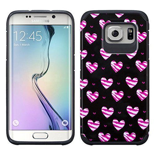 samsung galaxy s7 edge hybrid case - striped hearts - www.coverlabusa.com