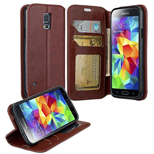 samsung galaxy S5 leather wallet case - brown - www.coverlabusa.com