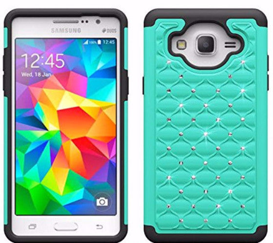 samsung galaxy on5 rhinestone hybrid case - teal/black - www.coverlabusa.com
