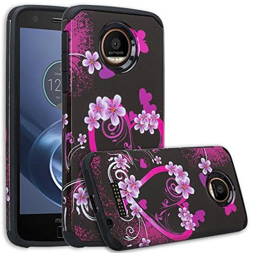 Moto Z Force Droid Hybrid Dual Layer Slim Case - Flower Hearts - www.coverlabusa.com