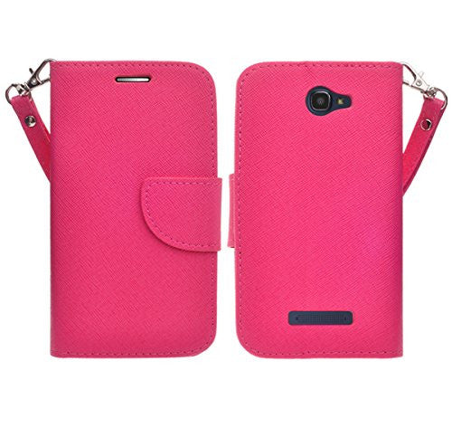Alcatel Onetouch Evolve 2 Pu leather wallet case - Hot Pink - www.coverlabusa.com