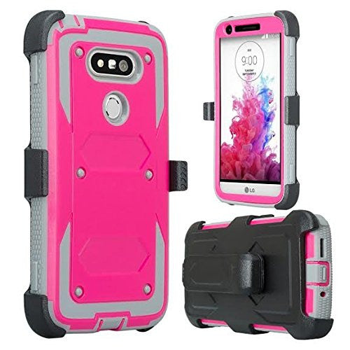 lg g5 case, holster with built in screen protector - hot pink - www.coverlabusa.com