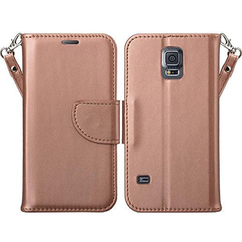 samsung galaxy S5 leather wallet case - rose gold - www.coverlabusa.com
