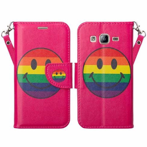 samsung galaxy on5 PU leather wallet case - rainbow emoji smiley - www.coverlabusa.com