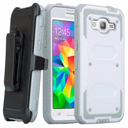 galaxy on5 case heavy duty holster shell combo - white/grey - coverlabusa.com