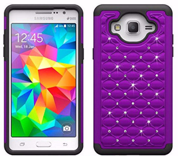 samsung galaxy on5 rhinestone hybrid case - purple/black - www.coverlabusa.com