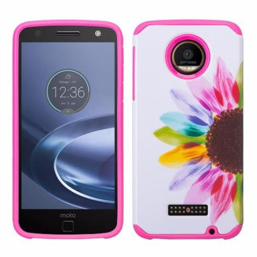 Moto Z Droid Case, Motorola Z Droid Hybrid Dual Layer Slim Case - Vivid Sunflower - www.coverlabusa.com