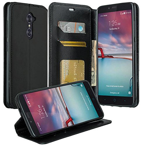 ZTE Prestige | Sonata 3 | Avid Plus | Avid Trio | Chapel Wallet Case [Card Slots + Money Pocket + Kickstand] - Black - www.coverlabusa.com