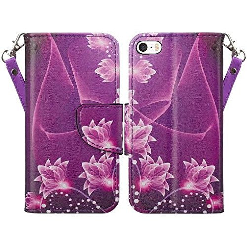 apple iphone SE 5S 5 leather wallet case - purple lotus - www.coverlabusa.com