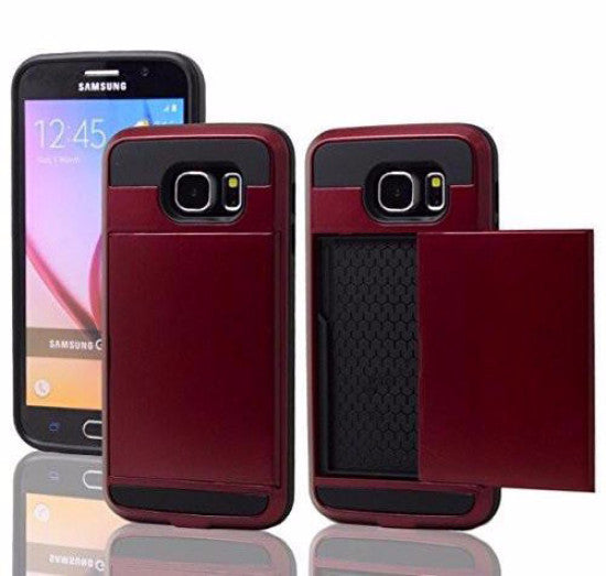 galaxy S6 case hybrid with card slots - red - www.coverlabusa.com