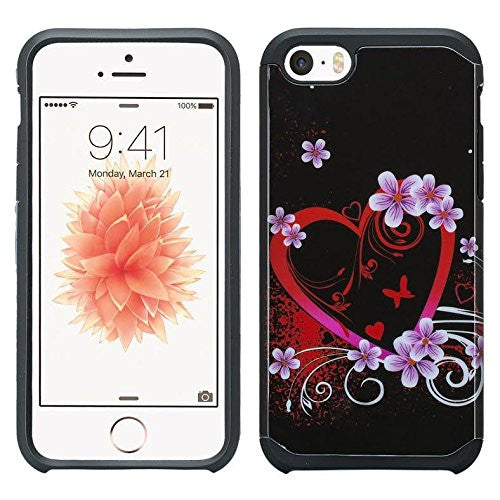 apple iphone SE 5S 5 hybrid case - heart butterflies - www.coverlabusa.com
