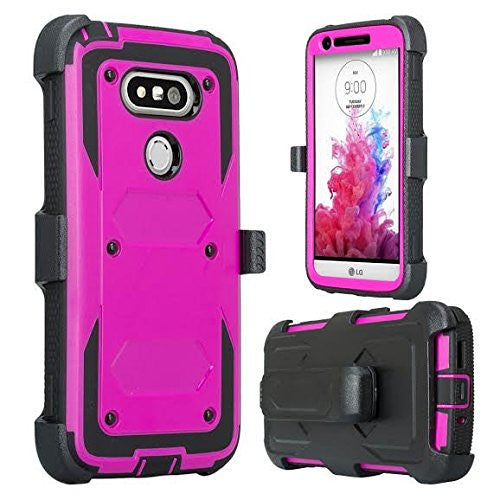 lg g5 case, holster with built in screen protector - purple - www.coverlabusa.com