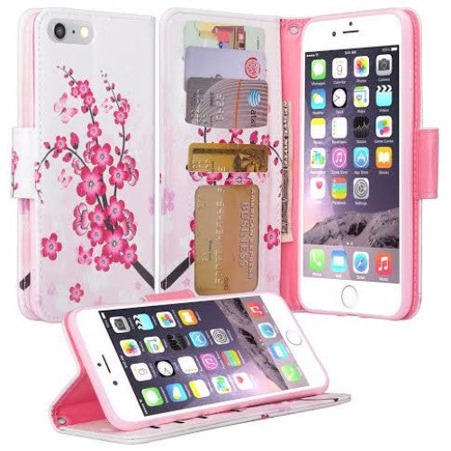 low cost 913dd 19548 For Apple iPhone 8 Case, Wrist Strap Pu Leather Magnetic Flip  Fold[Kickstand] Wallet Case with ID & Card Slots for iPhone 8 - Cherry  Blossom