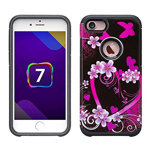 iphone 7 plus case, hybrid case - heart butterflies - www.coverlabusa.com