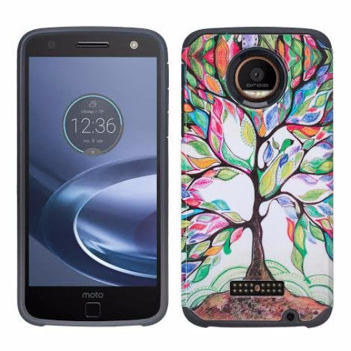 Moto Z Force Droid Case, Motorola Z Force Droid Hybrid Dual Layer Slim Case - Vibrant Tree - www.coverlabusa.com