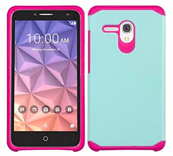 Alcatel Pixi Glory Case, Flint, Fierce XL, Jitterbug Smart, Slim Hybrid Dual Layer Case - Teal/Hot Pink