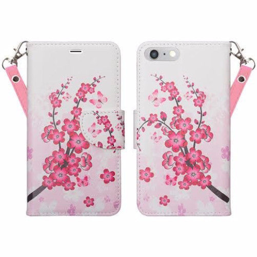 competitive price e8118 3f9a1 For Apple iPhone 7 Plus Case, Wrist Strap Pu Leather Magnetic Flip  Fold[Kickstand] Wallet Case with ID & Card Slots for Iphone 7 Plus - Cherry  Blossom