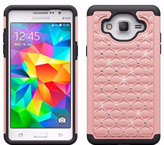 samsung galaxy on5 rhinestone hybrid case - pink/black - www.coverlabusa.com