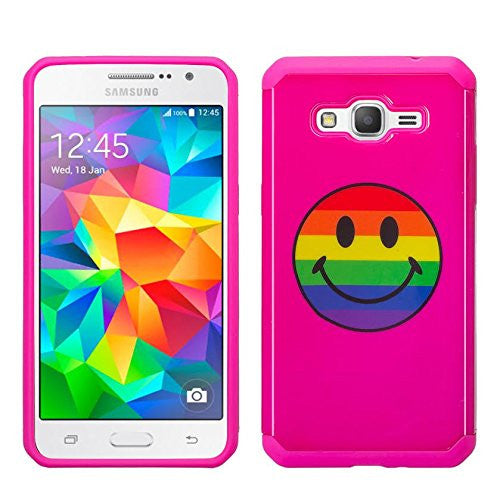 Galaxy J7 Case, Samsung Galaxy J7 [Shock Absorption /Impact Resistant] Hybrid Dual Layer Armor Defender Protective Case Cover for Galaxy J7 (Boost Mobile,Virgin,MetroPcs,TMobile), Rainbow Emoji, www.coverlabusa.com