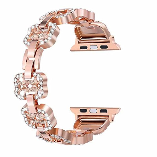 Bling Bands for Apple Watch Band 42mm Women Stainless Steel Metal - Rose Gold - www.coverlabusa.com