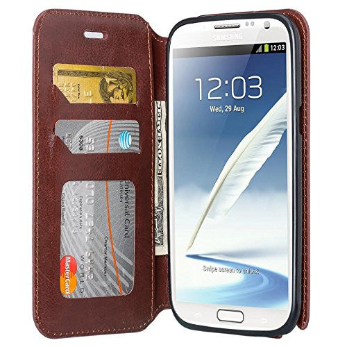 samsung galaxy note 2 leather wallet case - brown - www.coverlabusa.com