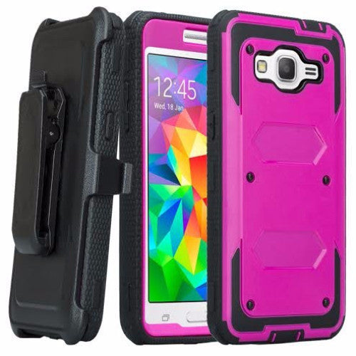 galaxy on5 case heavy duty holster shell combo - purple/black - coverlabusa.com
