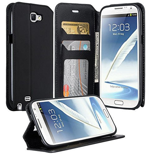samsung galaxy note 2 leather wallet case - black - www.coverlabusa.com