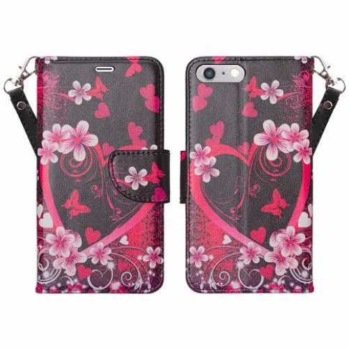 iphone 7 plus case, iphone 7 plus wallet case - heart butterflies - www.coverlabusa.com