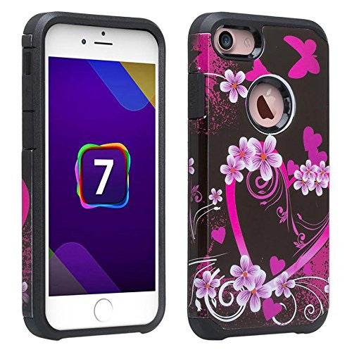apple iphone 7 plus case, hybrid case - heart butterflies - www.coverlabusa.com