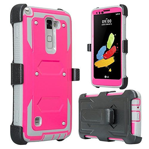 lg stylo 2 holster shell combo - hot pink - www.coverlabusa.com