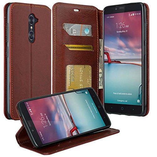 ZTE Prestige | Sonata 3 | Avid Plus | Avid Trio | Chapel Wallet Case [Card Slots + Money Pocket + Kickstand] - Maroon - www.coverlabusa.com