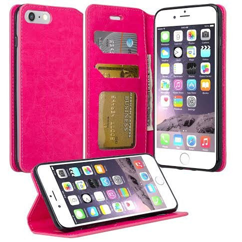 online store 3bd6f 96ebb Apple iPhone 8 Plus Case, Pu Leather Magnetic Flip Fold[Kickstand] Wallet  Case with ID & Card Slots for iPhone 8 Plus - Hot Pink