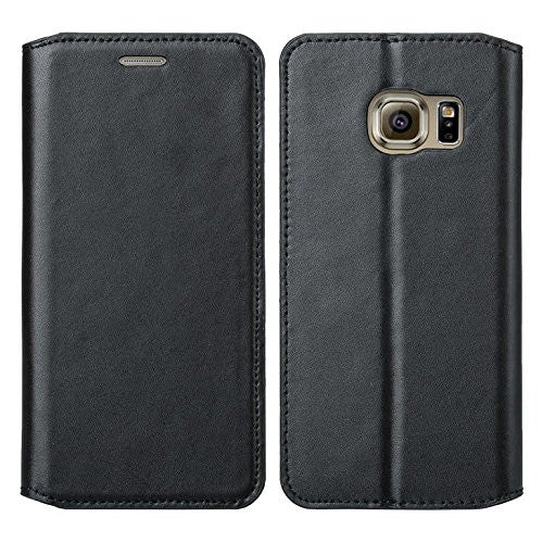 new arrival 5aa0c d3049 Samsung Galaxy S7 Genuine Leather Case, Magnetic Flip Fold[Kickstand] with  ID & Card Slots Genuine Leather Wallet Case for Galaxy S7 - Black