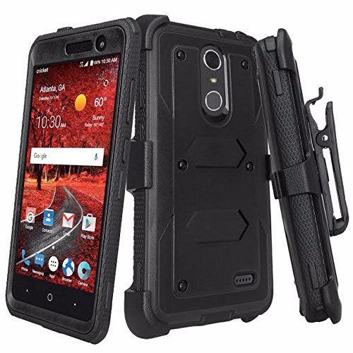 super popular 1fceb 4132b ZTE Blade Spark Z971, ZTE ZMAX One, ZTE Grand X4, X 4 Case, Rugged  [Built-in Screen Protector] Heavy Duty Holster Shell Combo Cover - Black