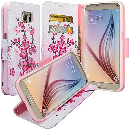 samsung galaxy note 5 case - Pu leather wallet - Cherry Blossom - www.coverlabusa.com