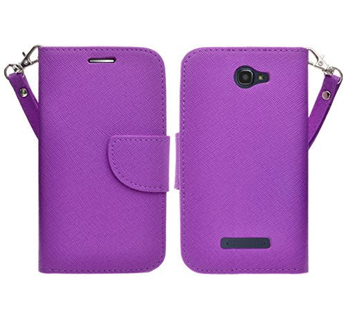 Alcatel Onetouch Evolve 2 Pu leather wallet case - Purple - www.coverlabusa.com