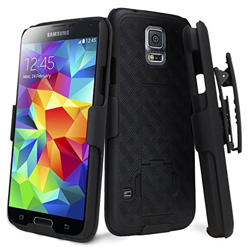 separation shoes 53d9c be76b Galaxy S5 Case, Slim Holster Shell Combo Case [Rotating Swivel Belt Clip] +  Screen Protector Bundle for Samsung Galaxy S5