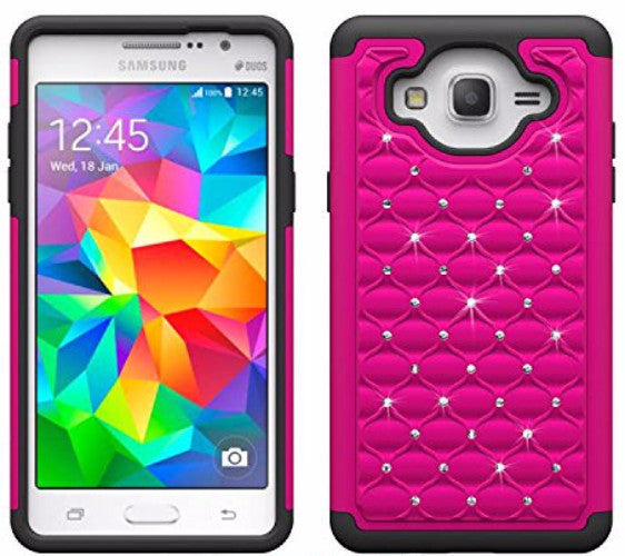 samsung galaxy on5 rhinestone hybrid case - hot pink/black - www.coverlabusa.com