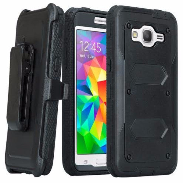 Samsung Galaxy J7 Case, [Shock Proof Series] Heavy Duty Belt Clip Holster For Galaxy J7, Full Body Coverage with Built In Screen Protector / Rugged Double Layer Protection, Black, WWW.COVERLABUSA.COM
