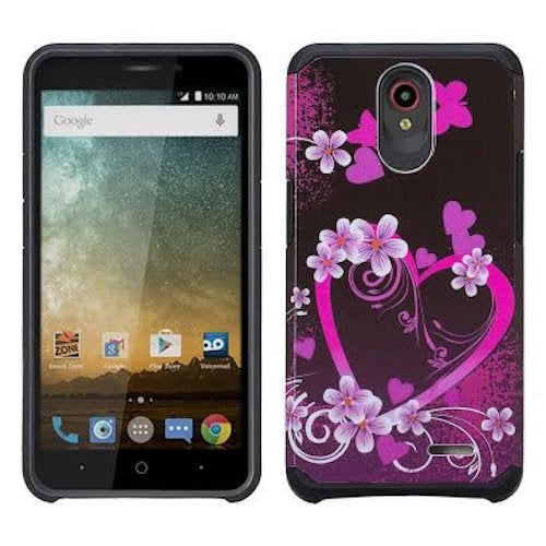 ZTE Prestige 2, Overture 3, Maven 3, Prelude Plus, ZTE 9136, Midnight Pro, Slim Hybrid Dual Layer Case Cover - Heart Butterflies