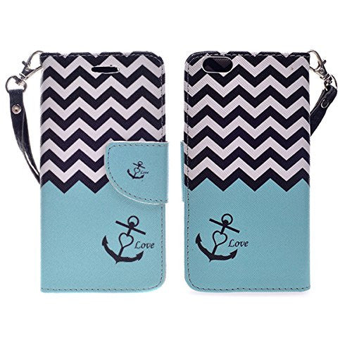 iphone 6 plus case, iphone 6s plus case wallet case teal anchor - www.coverlabusa.com