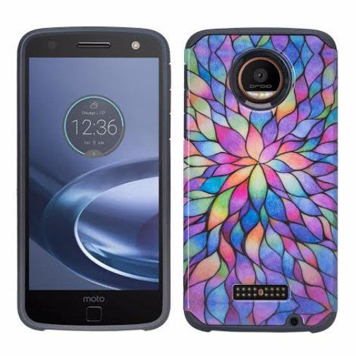 Moto Z Droid Hybrid Dual Layer Slim Case - rainbow flower - www.coverlabusa.com