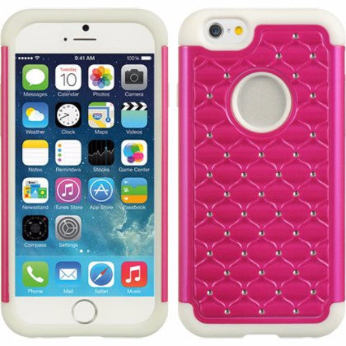 apple iphone 6 plus diamond rhinestone hybrid case - hot pink - www.coverlabusa.com