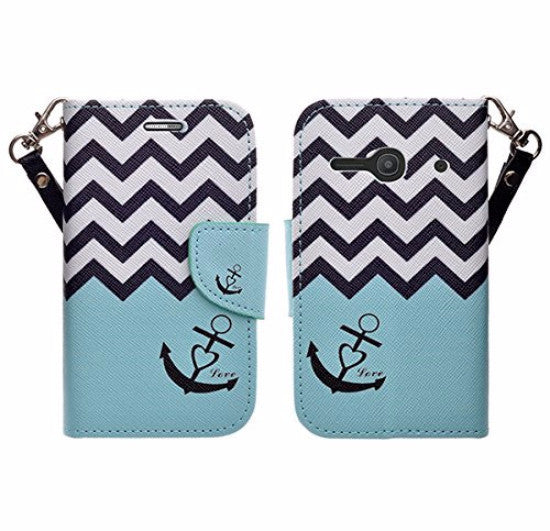 Alcatel Onetouch Evolve 2 Pu leather wallet case - teal anchor - www.coverlabusa.com
