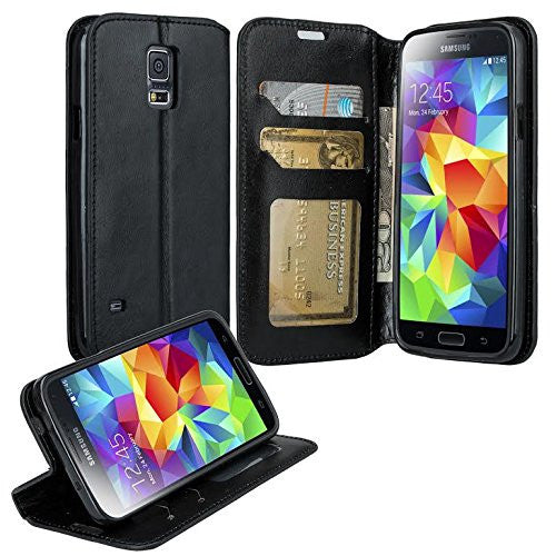 samsung galaxy S5 leather wallet case - black - www.coverlabusa.com