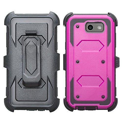 the latest 5ffcb 1a4cf Galaxy J3 Emerge Case, Shockproof Armor + [Temper Glass Screen Protector]  Heavy Duty Holster Shell Combo Case for Samsung Galaxy J3 Emerge - ...