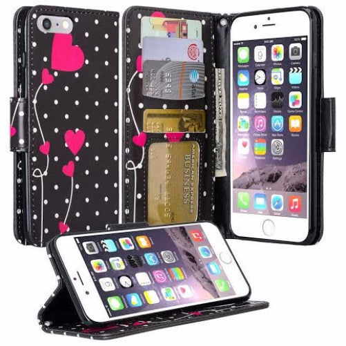 100% authentic 90ed9 549a5 For Apple iPhone 8 Case, Wrist Strap Pu Leather Magnetic Flip  Fold[Kickstand] Wallet Case with ID & Card Slots for iPhone 8 - Polka Dots  Hearts